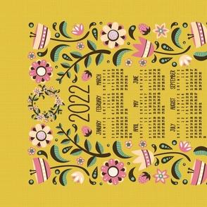 2021 Midsummer Festival Floral Tea Towel Calendar (Gold)