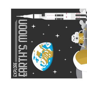 Explore Earth's Moon Travel Tea Towel