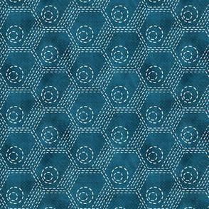 Geometric Sashiko on textured teal denim