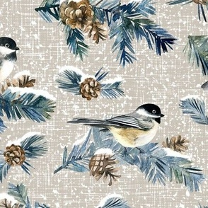 Winter Chickadee / Warm Grey Linen Texture Background / Large Scale