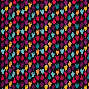 Colorful Dinosaur Footprints over black - smaller version
