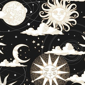 Vintage Sun and Moon Black and White / Solar Eclipse