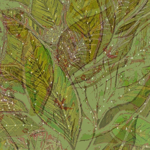 Botanical Leaves Painting Khaki Fat Quarter