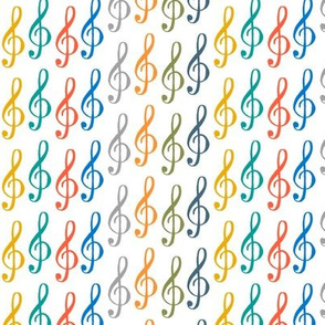 treble clef - rainbow stripes