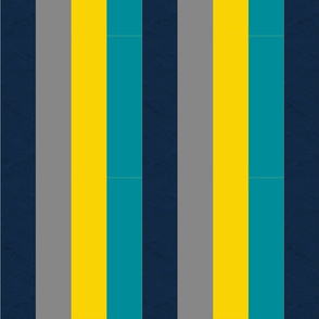 Turquoise Gray Navy & Yellow Stripes