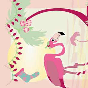 Groovy Flamingo Christmas Florida Vintage Travel Tea Towel
