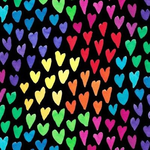 Watercolour rainbow hearts on black