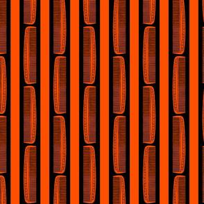 Vintage Combs & Stripes in Black & Hot Orange (Large Scale)