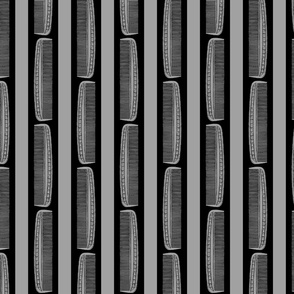 Vintage Combs & Stripes in Black & Gray (Large Scale)