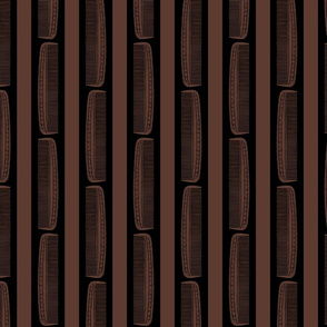 Vintage Combs & Stripes in Black & Coffee Brown (Large Scale)