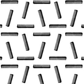 Classic Hair Combs Pattern in Black & White (Mini Scale)