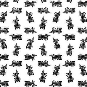 Cute Locomotive Train Black & White Pattern (Mini Scale)