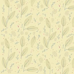 Bella-Nora gentle watercolour leaf pattern