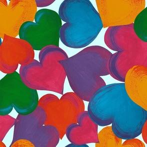 Hearts overlapping jewel tones