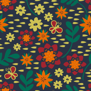 Seamless vector pattern with flowers on blue background. Retro floral wallpaper deign. Hand drawn ditsy fashion textile.