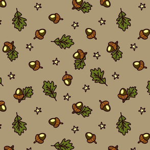 Seamless vector pattern with acorns and stars on grey background. Beautiful nature wallpaper design with magical shine.