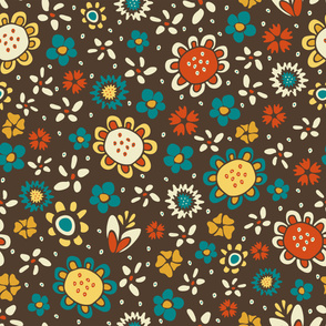 Seamless vector pattern with flowers on brown background. Funky retro floral wallpaper design. Vintage ditsy fashion fabric style.