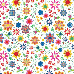 Seamless vector pattern with summer flowers on white background. Happy artistic floral wallpaper design. Hippy festival fabric fashion.