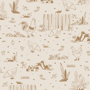 Seamless vector pattern with chicken in yard on light beige background. Simple farm house wallpaper design with birds.
