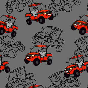 Seamless vector pattern with racing cars on grey background. Buggy car wallpaper design for Kids. Off road transportation fashion fabric style.