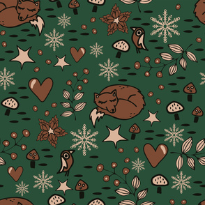 Seamless vector pattern with brown fox on green background. Simple Christmas wallpaper design with winter forest. Seasonal fashion textile.