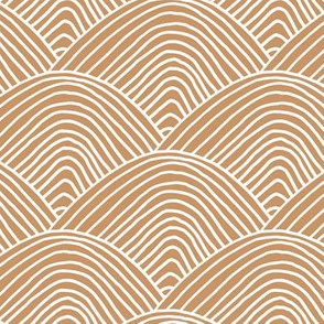 Minimalist sea ocean waves and surf vibes abstract salty water minimal Scandinavian style stripes caramel cinnamon white LARGE
