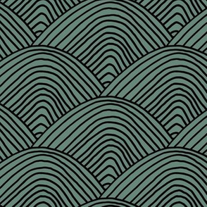 Minimalist sea ocean waves and surf vibes abstract salty water minimal Scandinavian style stripes sage green black christmas LARGE