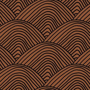 Minimalist sea ocean waves and surf vibes abstract salty water minimal Scandinavian style stripes copper chocolate brown black winter LARGE