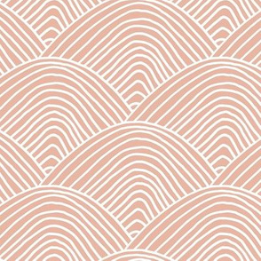Minimalist sea ocean waves and surf vibes abstract salty water minimal Scandinavian style stripes soft nursery coral blush pink white LARGE