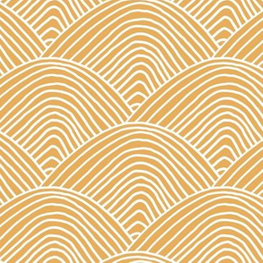 Minimalist sea ocean waves and surf vibes abstract salty water minimal Scandinavian style stripes ochre honey yellow LARGE