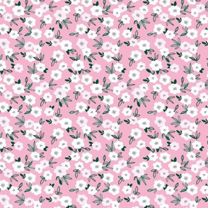 Sweet blossom garden romantic english liberty print white flowers nursery pink green summer SMALL