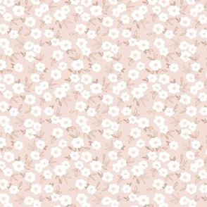 Sweet blossom garden romantic english liberty print white flowers nursery soft beige sand SMALL