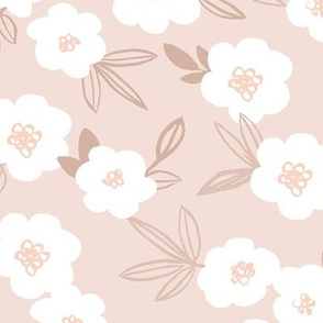 Sweet blossom garden romantic english liberty print white flowers nursery soft beige sand
