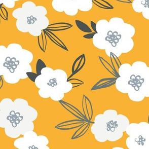 Sweet blossom garden romantic english liberty print white flowers nursery ochre yellow summer