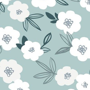 Sweet blossom garden romantic english liberty print white flowers nursery cool soft moody green blue gray