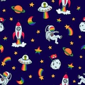 Rainbow Space on Blue
