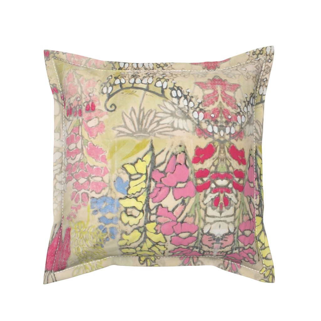 Serama Throw Pillow featuring Snapdragons and Bleeding Hearts by maria_pezzano