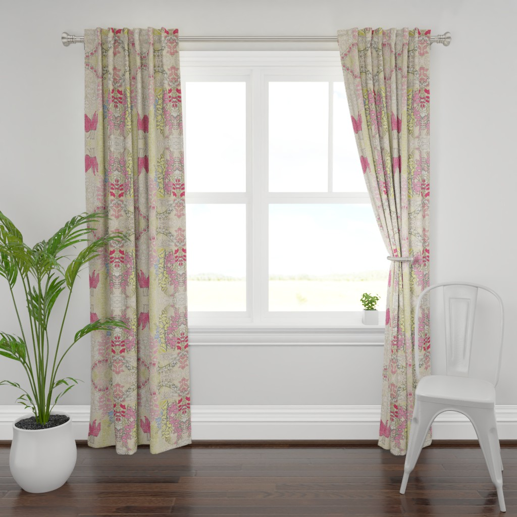 Plymouth Curtain Panel featuring Snapdragons and Bleeding Hearts by maria_pezzano