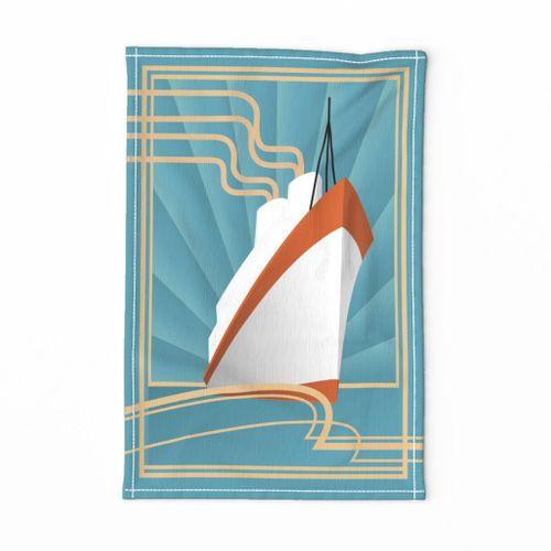 Bon Voyage Vintage Travel Tea Towel on Blue