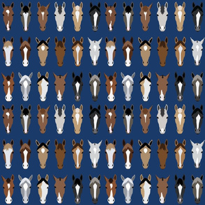Horse Faces Pattern On Navy