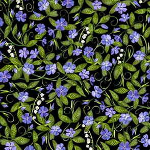 Lily of the Valley + Periwinkle |Small| Black