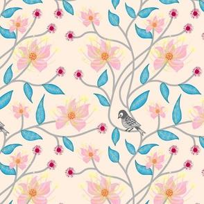 Twirling Floral Vines #1 (baby pink) - blush cream, medium