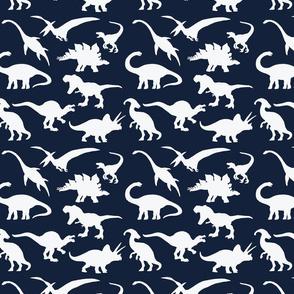 White Dinosaurs over dark blue
