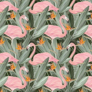 Elegant Pink Flamingos and Sterlitzia flowers