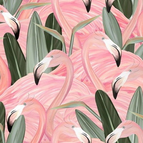 Elegant Pink Flamingos and Birds of Paradise