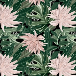Botanical Oasis. Pink dahlia flowers and green leaves.