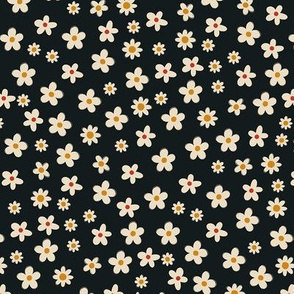 Tiny white flowers on black. Summer pattern.