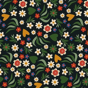 Colorful flowers on black. Mexican folk art