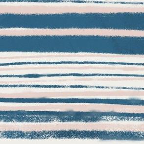 Painterly stripes in indigo and blush