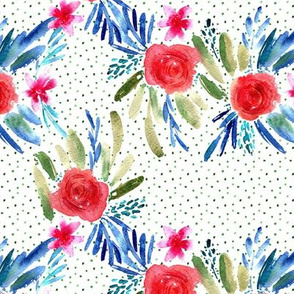 Red and indigo flourish watercolor pattern - flowers and roses - florals painterly